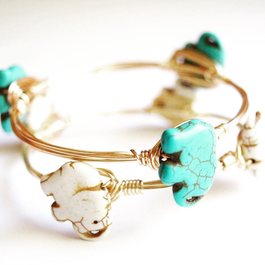 Turquoise Elephant Wire Wrap Bangle