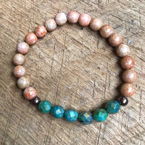 Tan and Green Beaded Bracelet