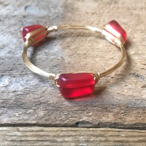 Matte Red Bead Bangle
