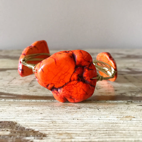 Bright Orange Jasper Slab Wire Bangle