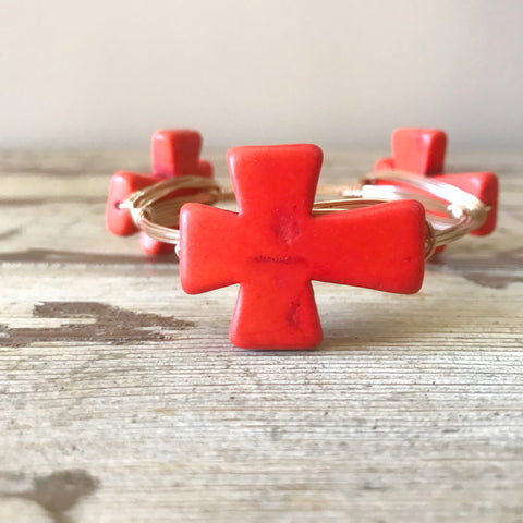 Orange Cross Bangle
