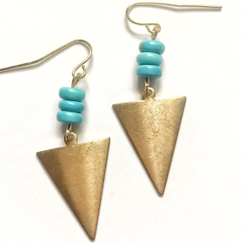 Turquoise and Gold Triangle Earrings