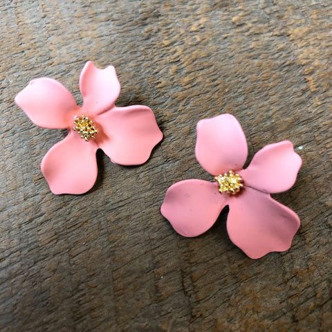 Coral Flower Stud Earrings