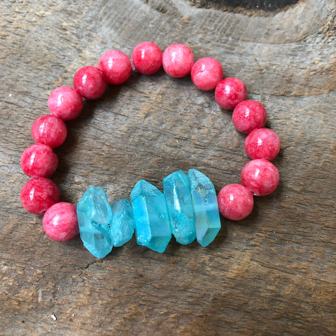 Blue and Pink Crystal Bracelet