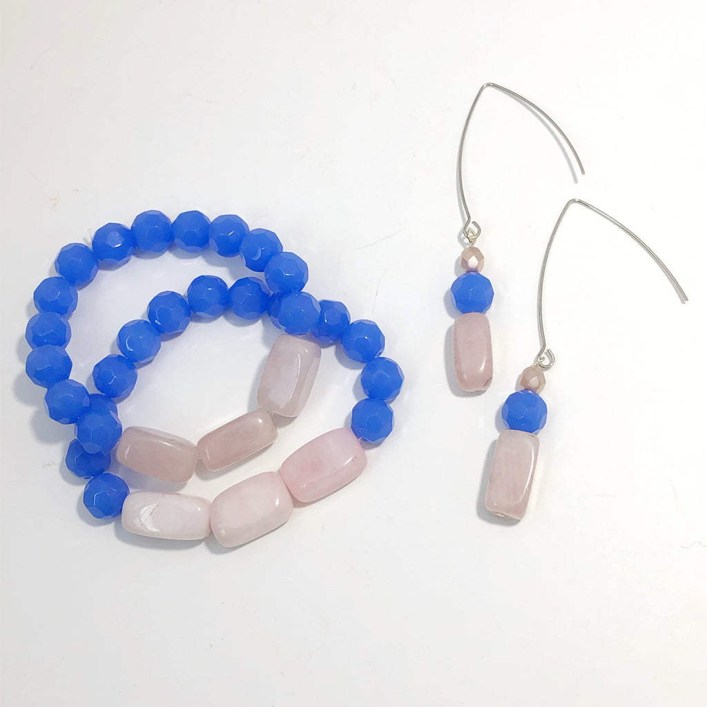 Pink and Blue Beaded Earrings