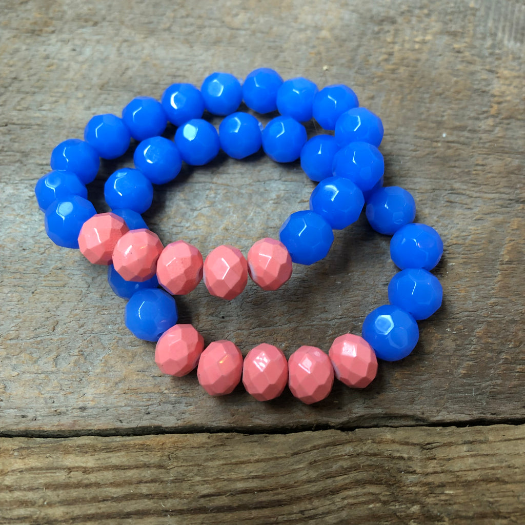 Coral and Blue Beaded Bracelet