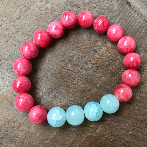 Pink and Mint Beaded Bracelet