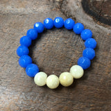 Yellow and Blue Beaded Bracelet