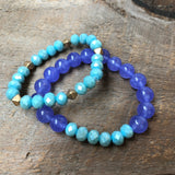 Purple and Turquoise Beaded Bracelet