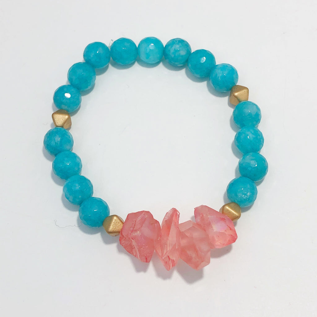 Pink and Turquoise Crystal Bracelet