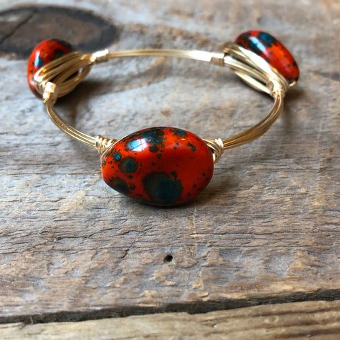 Red and Teal Speckled Bangle