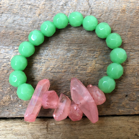 Pink and Green Crystal Bracelet