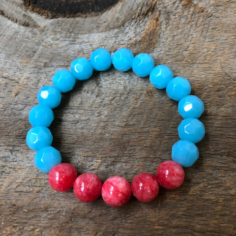 Pink and Blue Beaded Bracelet