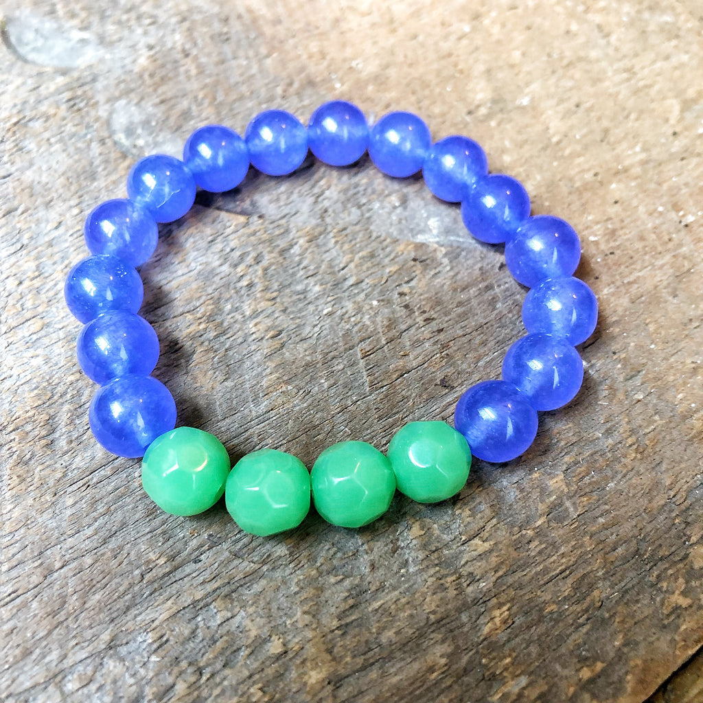 Purple and Green Beaded Bracelet