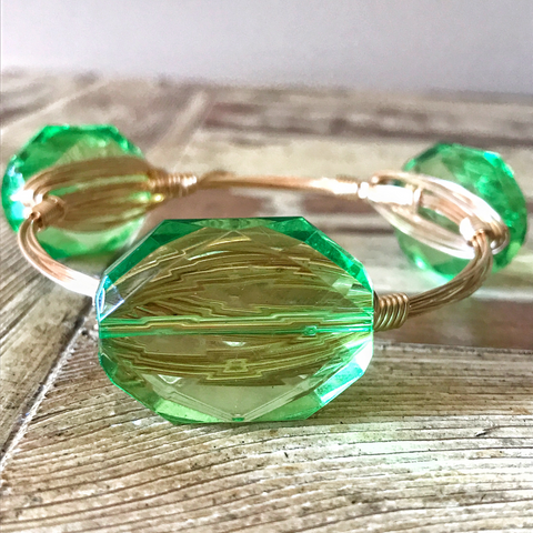 Light Green Crystal Wire Wrap Bangle
