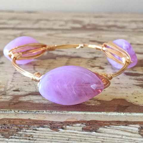 Lilac Oval Wire Bangle
