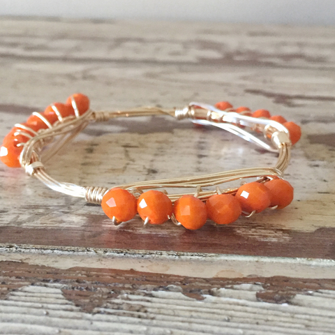 Orange Crystal Wire Wrap Bangle