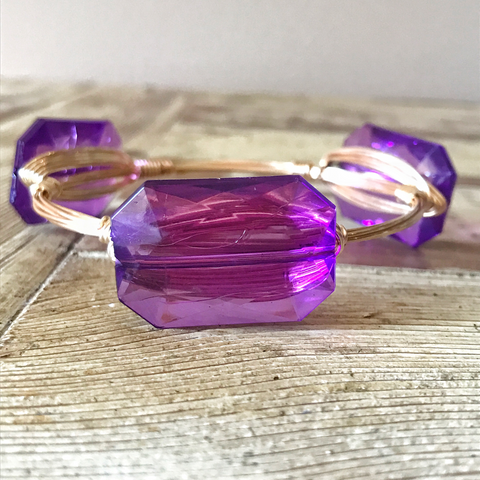 Purple Crystal Wire Bangle