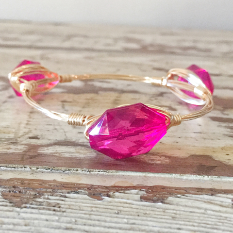 Small Pink Crystal Bangle