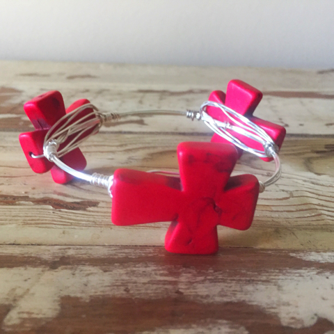 Red cross wire wrap bracelet