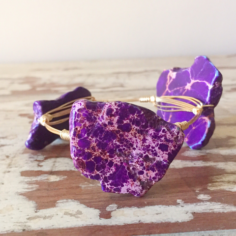 Purple Jasper Slab wire wrap bracelet
