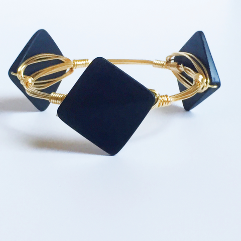 Black Square wire wrap bracelet