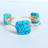 Square Blue mosaic wire wrap bracelet
