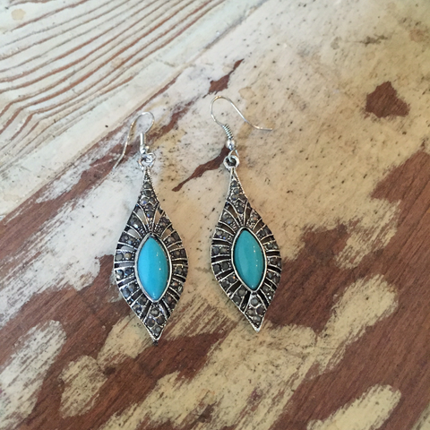 Blue Tibetan Silver Earrings
