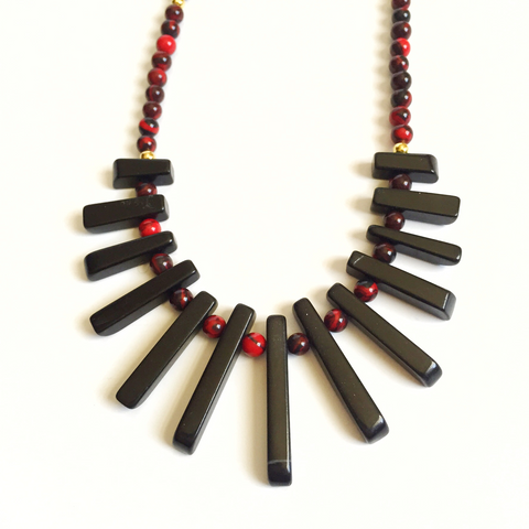 Red and Black Stick Bead Pendant Necklace