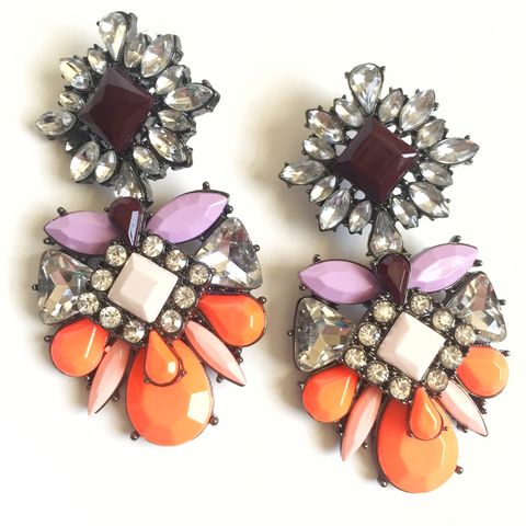 Neon Orange Crystal Drop Earrings