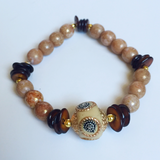 Tan and Brown Beaded Bracelet