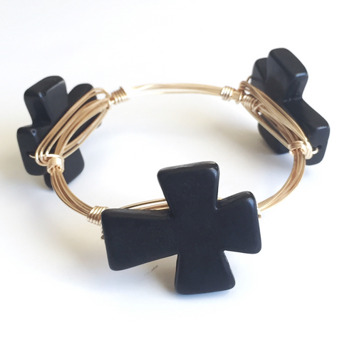 Black Cross Wire Wrap Bangle