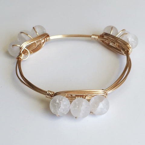White Frosted Agate Bead Wire Wrap Bangle