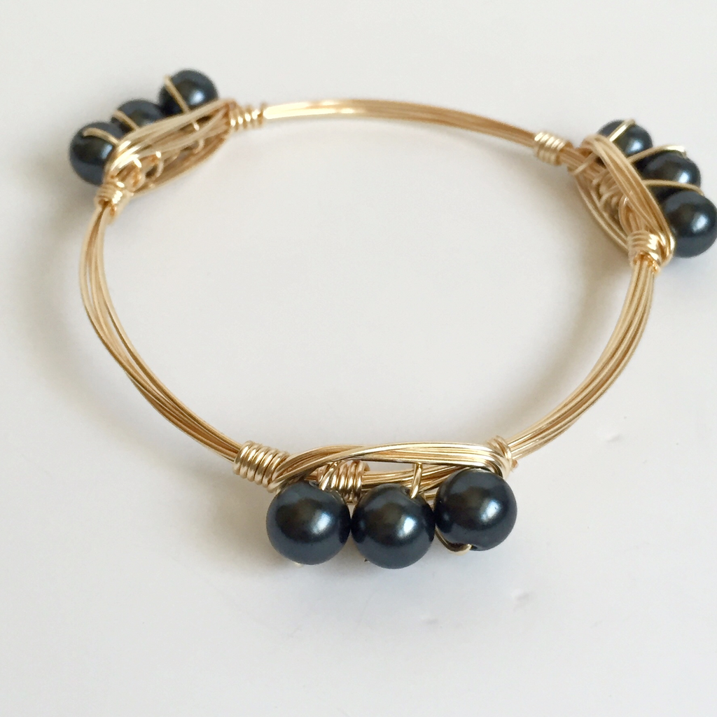 Pearl Wire Wrap Bangle