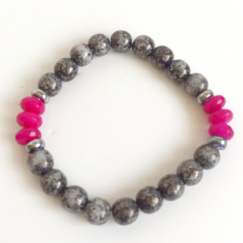 Pink and Grey Luster Beaded Bracelet