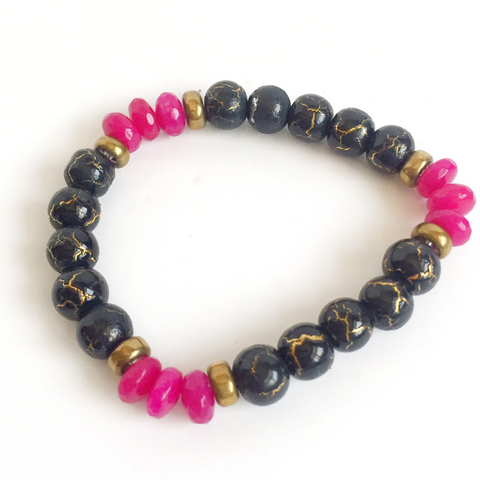 Pink and Black crackle beaded Bracelet