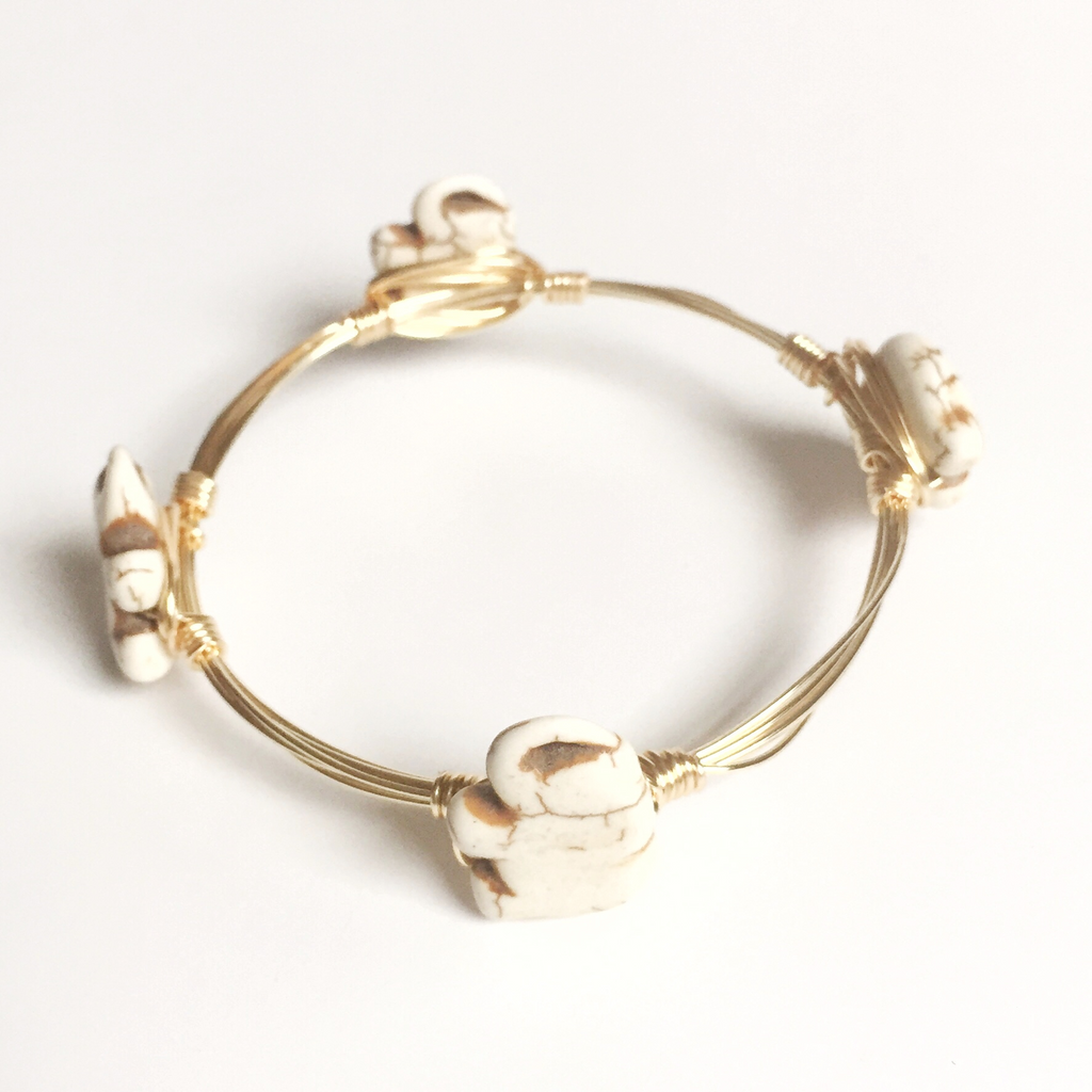 Small white elephant wire wrap bracelet