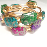 Turquoise Splatter Wire Wrap Bangle