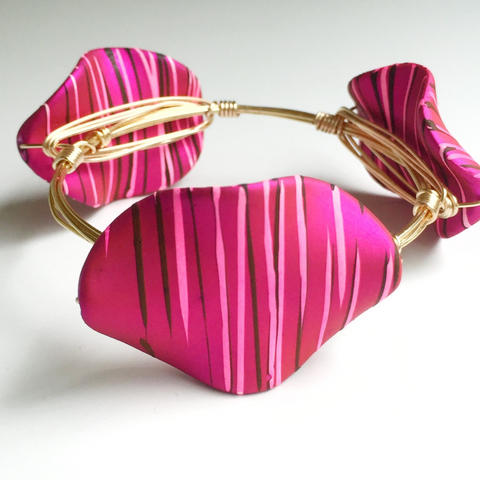 Painted Matte Pink Wire Wrap Bangle
