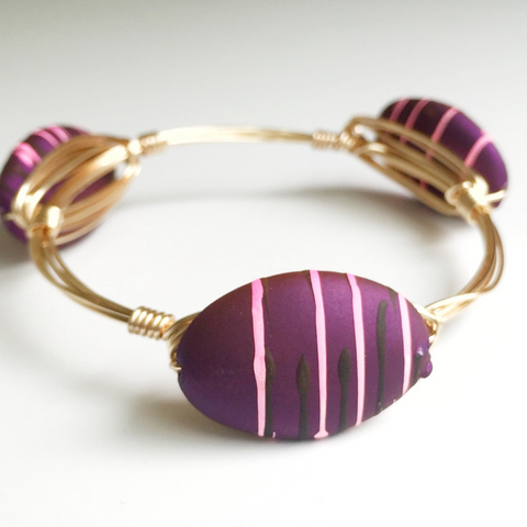 Matte Purple Painted Wire Wrap Bangle