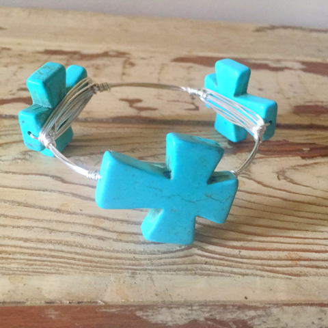 Turquoise cross wire wrap bracelet
