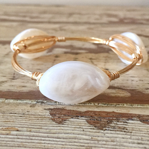 White Oval Bangle
