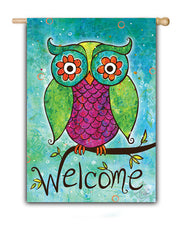 Rainbow Owl Welcome - Fasadflagga