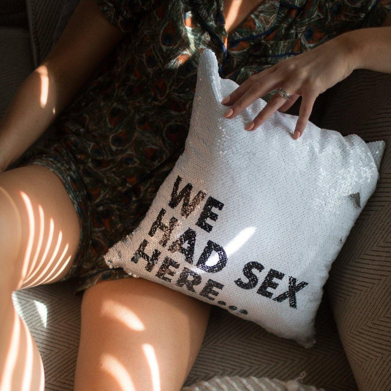 We Had Sex Here Pillow Cover - Metal Marvels - Bold mantras for bold women.