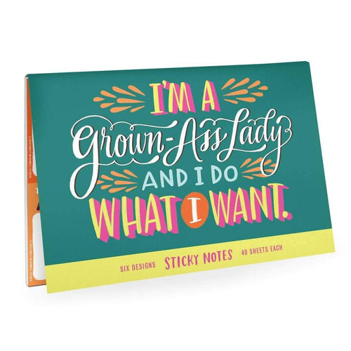 Grown-Ass Lady Sticky Note Packet - Metal Marvels - Bold mantras for bold women.