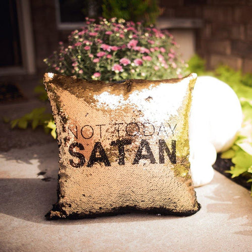 Not Today Satan Pillow Cover - Metal Marvels - Bold mantras for bold women.