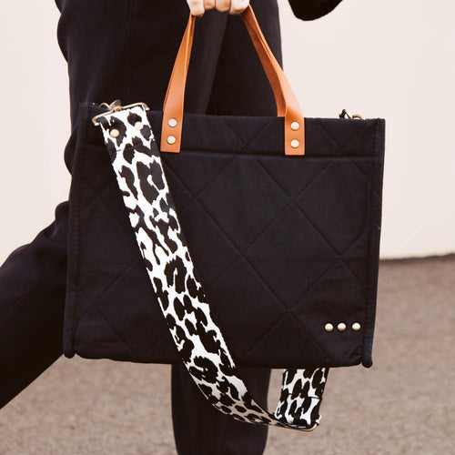 Carrie Crossbody Tote - Black Quilted