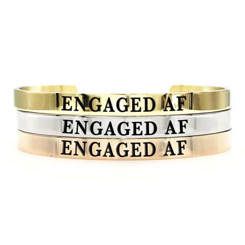 Engaged AF Thick Bangle - Metal Marvels - Bold mantras for bold women.