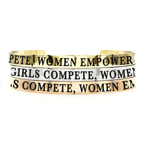 Girls Compete, Women Empower Thick Bangle - Metal Marvels - Bold mantras for bold women.