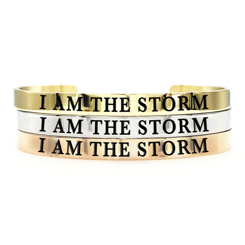 I Am The Storm Thick Bangle - Metal Marvels - Bold mantras for bold women.